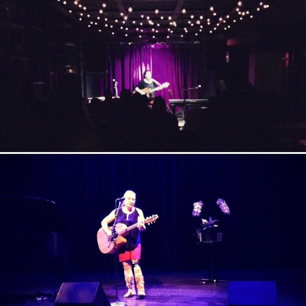 Christa performing on stage in front of a crowd at the Burdock and with flowers in the background at The Cultch